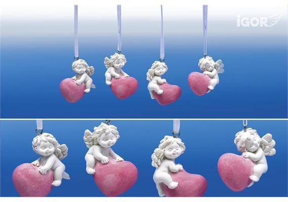 Poly-Engel ''Igor'' auf Herz hgd. weiss- rosé sort. ø3 H4,5cm