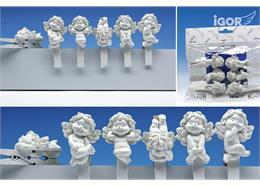 """Poly-Engel """"Igor"""" auf Holzkluppe flach weiss, assortiert, L 4.5 / 7.5 cm"""