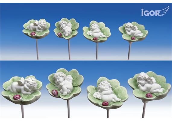 Poly-Engel ''Igor'' auf Kleeblatt +Stick weiss-coloriert sort. ø5 H3 L42cm