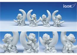 """Poly-Engel """"Igor"""" auf Mond weiss-glitzer, assortiert, Höhe 8.5 cm"""