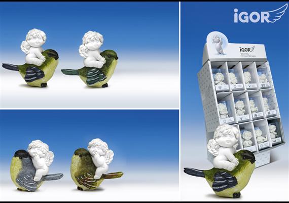 Poly-Engel ''Igor'' auf Vogel im Display weiss-coloriert sort. H/B6cm