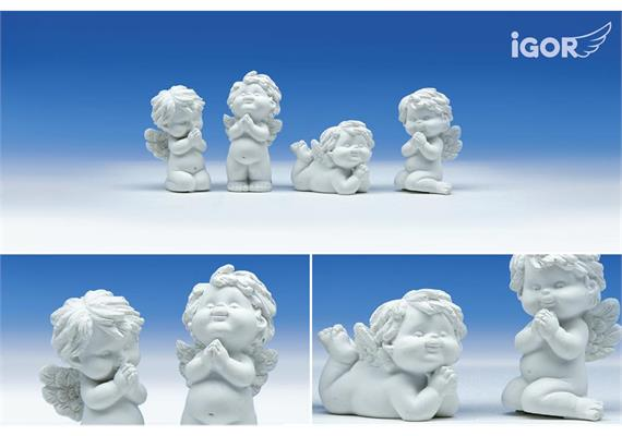"Poly-Engel ""Igor"" betend weiss sort. H 4.5-7 cm"