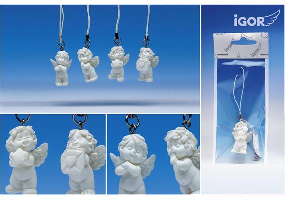 "Poly-Engel ""Igor"" hängend für Handy weiss assortiert, Höhe 3.5 cm"