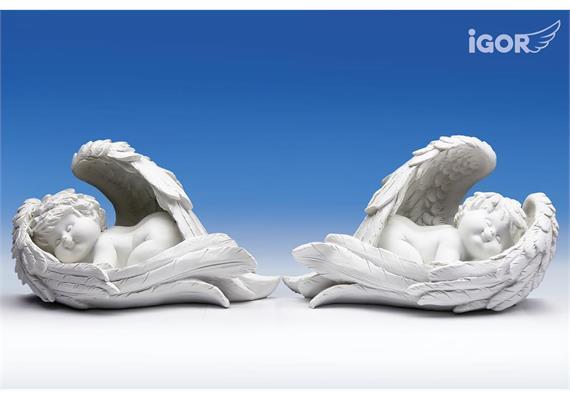 Poly-Engel ''Igor'' im Flügel weiss sort. L22 H13cm