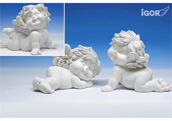 "Poly-Engel ""Igor"" liegend weiss sort. L=16-19cm, H=11-15 cm"