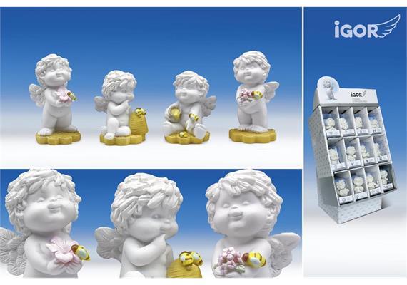"""Poly-Engel """"Igor"""" mit Bienen i Display weiss-coloriert sort. H6.5-8cm"""
