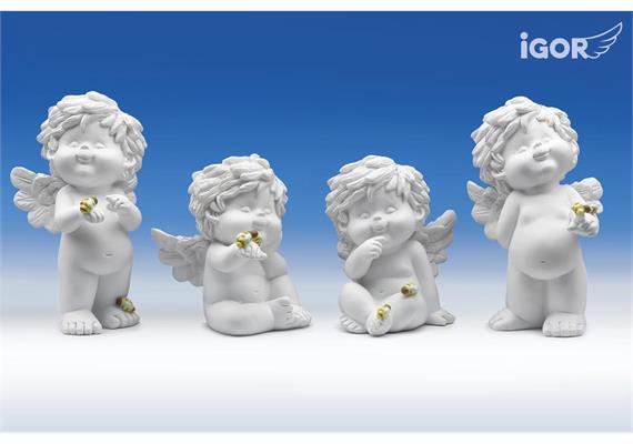 """Poly-Engel """"Igor"""" mit Bienen weiss-coloriert sort. H9-12cm"""