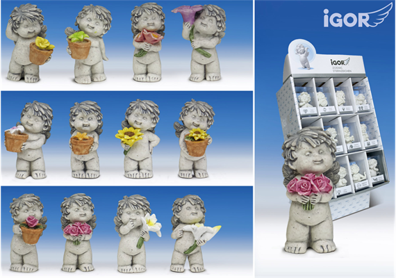 Poly-Engel ''Igor'' mit Blume im Display stony-grey coloriert sort. H7cm