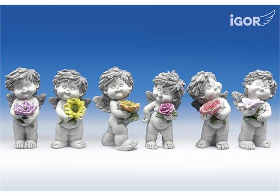 "Poly-Engel ""Igor"" mit Blume stony-grey sort. H12cm"