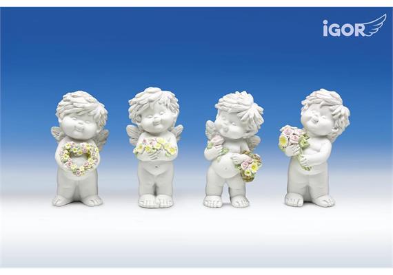 """Poly-Engel """"Igor"""" mit Blumen weiss-coloriert sort. H12cm"""