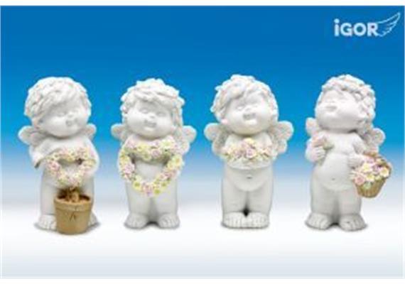 """Poly-Engel """"Igor"""" mit Blumen weiss-coloriert sort. H15cm"""