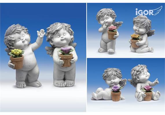 "Poly-Engel ""Igor"" mit Blumentopf stony-grey sort. H12 / 14 / 17,5cm"