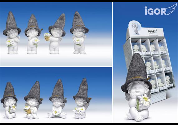 Poly-Engel ''Igor'' mit Filzhut im Display weiss-coloriert sort. H9/11cm