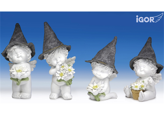 Poly-Engel ''Igor'' mit Filzhut weiss-coloriert sort.H17/23cm