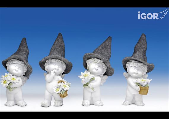 Poly-Engel ''Igor'' mit Filzhut weiss-coloriert sort. H17cm