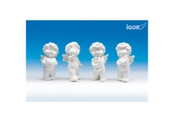 Poly-Engel ''Igor'' mit Geschenk weiss sort. H15cm