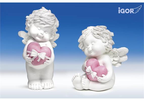 """Poly-Engel """"Igor"""" mit Geschenkherz sth./stz. weiss-rosé sort. H18-23cm"""
