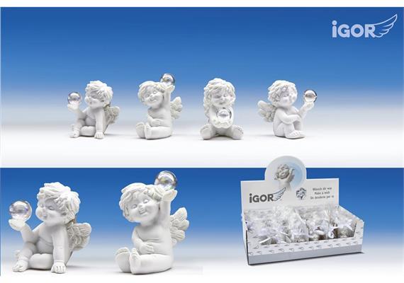 Poly-Engel''Igor'' mit Glas-Seifenblase sitzend weiss sort. H5,5cm