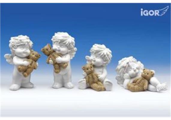 """Poly-Engel """"Igor"""" mit Herzkinder-Teddy weiss-coloriert sort. H6.5 / 9.5 / 12.5cm"""