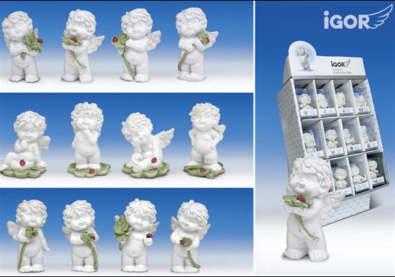 Poly-Engel ''Igor'' mit Kleeblatt im Display weiss-coloriert sort. H7cm
