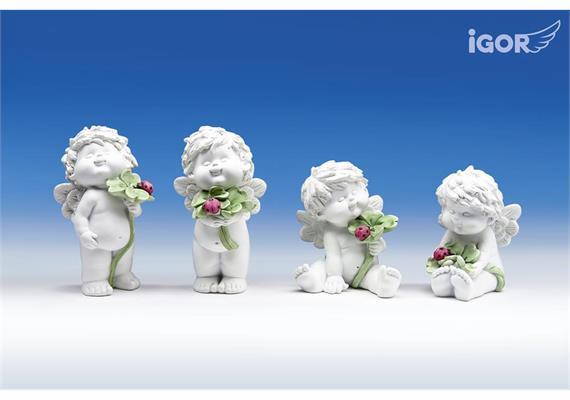 Poly-Engel ''Igor'' mit Kleeblatt weisscoloriert stehend/sitzend H12/15cm