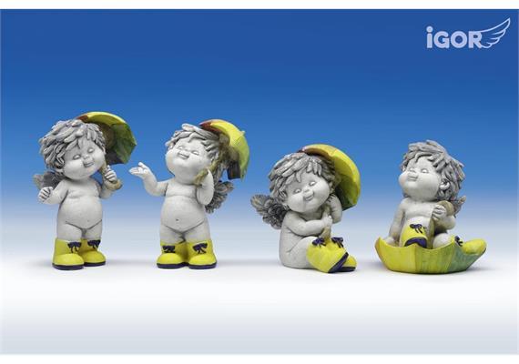 "Poly-Engel ""Igor"" mit Regenschirm stony-grey sort. H10-13cm"
