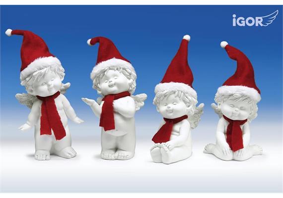 Poly-Engel ''Igor'' mit Santa-Mütze sth./stz. weiss-rot sort. H16-20cm