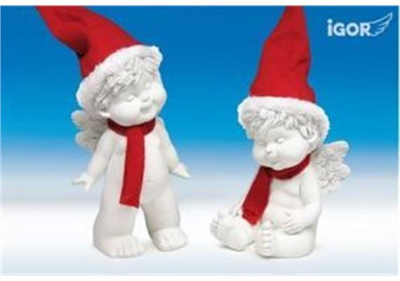 Poly-Engel ''Igor'' mit Santa-Mütze sth./stz. weiss-rot sort. H20-30cm
