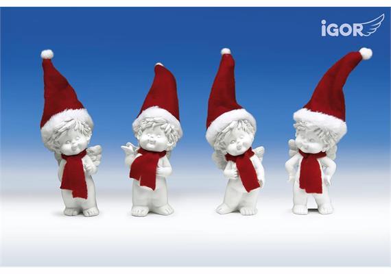 Poly-Engel ''Igor'' mit Santa-Mütze sth. weiss-rot sort. H12-17cm