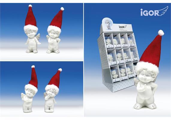 Poly-Engel ''Igor'' mit Santa-Mütze sth. weiss-rot sort. H8-11cm