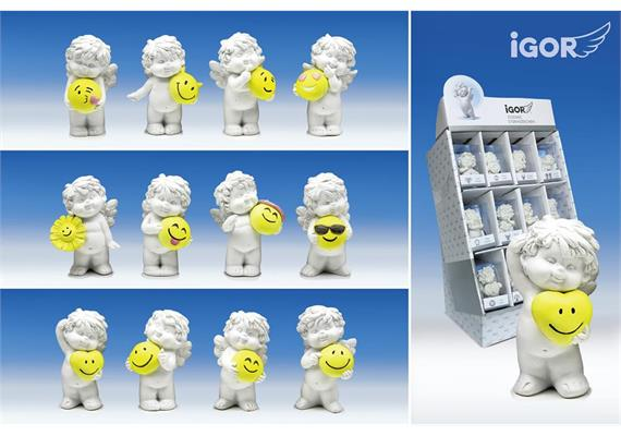"Poly-Engel ""Igor"" mit Smiley im Display weiss-coloriert sort. H7cm"