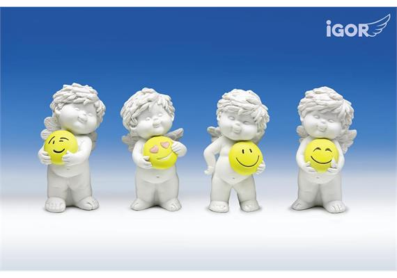 "Poly-Engel ""Igor"" mit Smiley weiss-coloriert sort. H12cm"