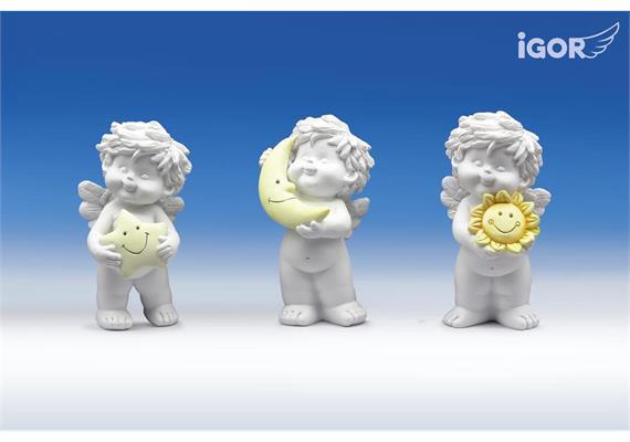 """Poly-Engel """"Igor"""" mit Sonne/Mond/Stern weiss-coloriert sort. H12cm"""