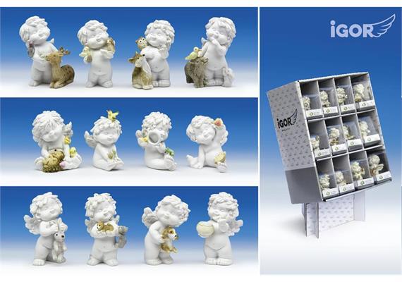 """Poly-Engel """"Igor"""" mit Tieren in Display weiss-coloriert sort. H6-7cm"""