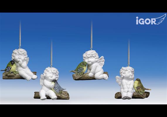 Poly-Engel ''Igor' mit Vogel auf Ast (an Metallfeder) hgd. weiss-coloriert sort. H6-7 B8cm