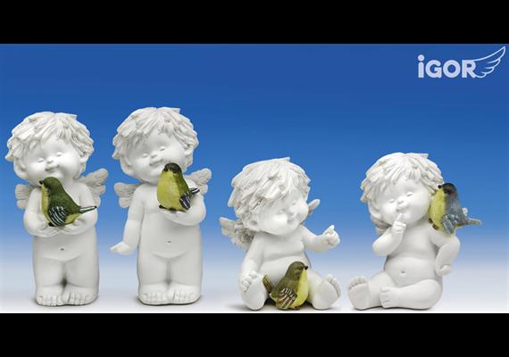 Poly-Engel ''Igor'' mit Vogel weiss-coloriert sort. H12/17cm