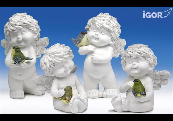 Poly-Engel ''Igor'' mit Vogel weiss-coloriert sort. H18/24cm