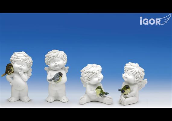 Poly-Engel ''Igor'' mit Vogel weiss-coloriert sort. H9/12cm