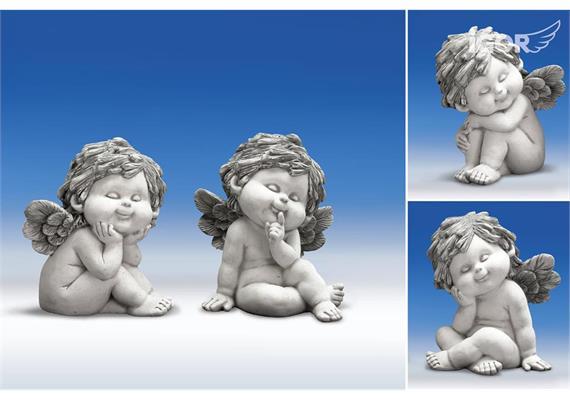 Poly-Engel ''Igor'' sitzend stony-grey sort. H18cm