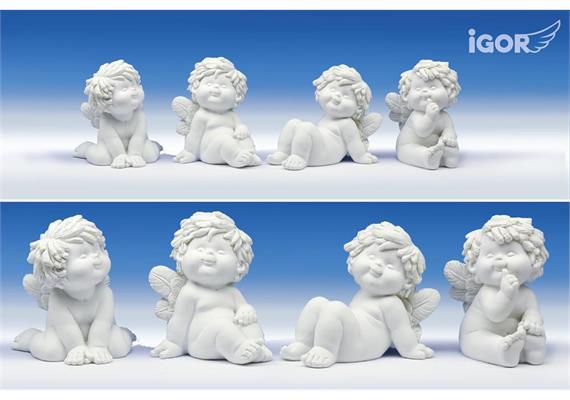 "Poly-Engel""Igor"" sitzend weiss sort. H=10 cm"
