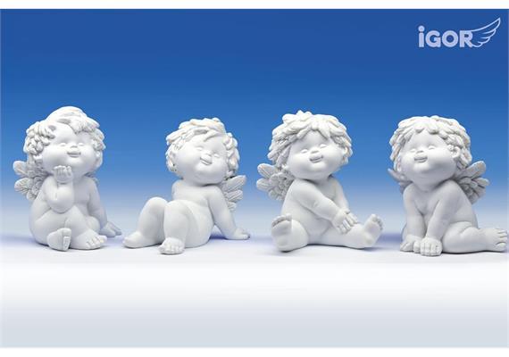 "Poly-Engel ""Igor"" sitzend weiss sort. H=12-13 cm"