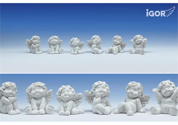 "Poly-Engel ""Igor"" sitzend weiss sort. H=3.5 cm"