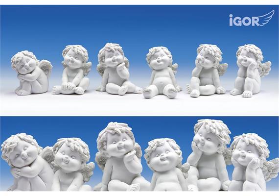 Poly-Engel ''Igor'' sitzend weiss sort. H 6,5- 7,5cm