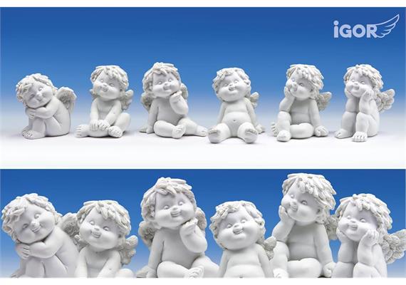 Poly-Engel ''Igor'' sitzend weiss sort. H6,5- 7,5cm