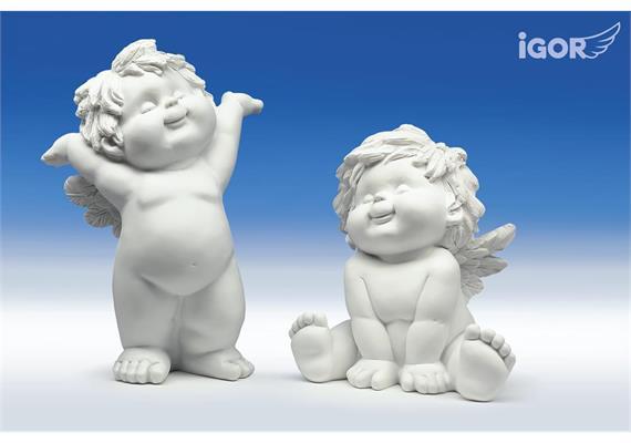 "Poly-Engel ""Igor"" stehend /sitzend weiss sort. H18/24cm"
