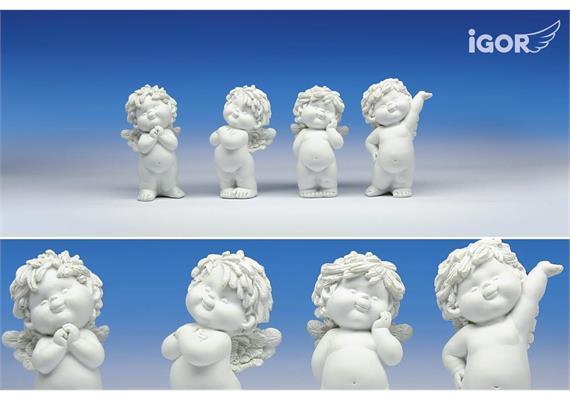 """Poly-Engel """"Igor"""" stehend weiss sort. H=12 cm"""