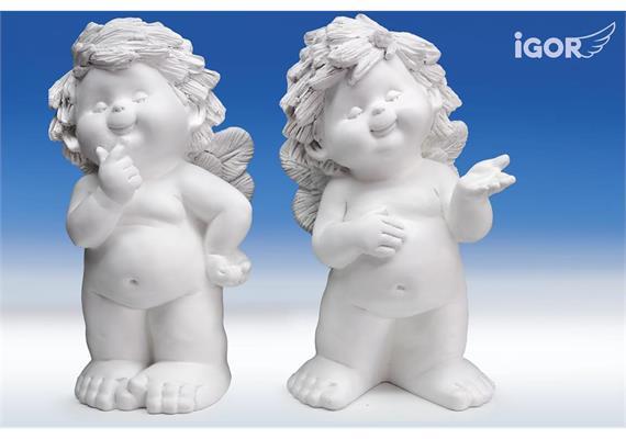 """Poly-Engel """"Igor"""" sth. weiss sort. H34 cm"""
