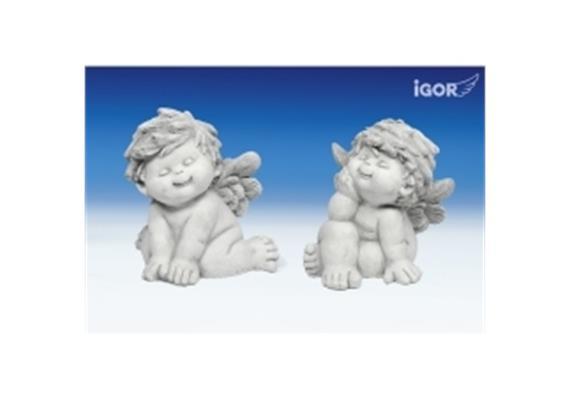 Poly-Engel ''Igor'' stony-grey sitzend sort. H 25cm