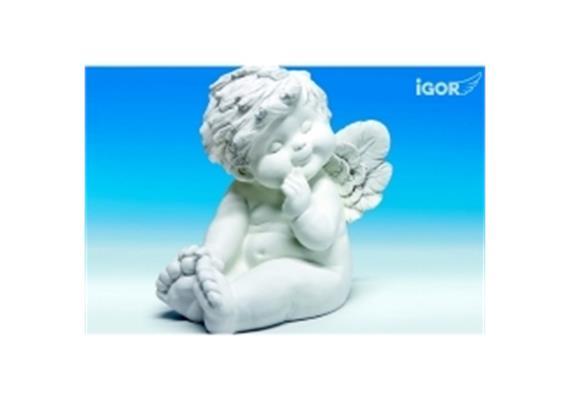 Poly-Engel ''Igor'' XL sitzend (nachdenklich) weiss sort. H45cm