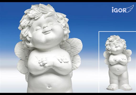 Poly-Engel ''Igor'' XL sth. (zufrieden) weiss H60cm